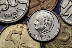 Pièces de monnaie de la Belgique Images libres de droits
