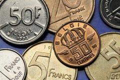 Pièces de monnaie de la Belgique Photo stock