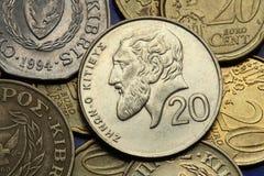 Pièces de monnaie de la Chypre Image libre de droits