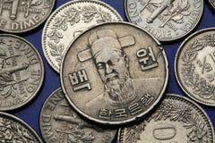 Pièces de monnaie de la Corée du Sud Images libres de droits