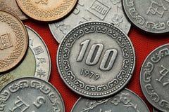 Pièces de monnaie de la Corée du Sud Image libre de droits
