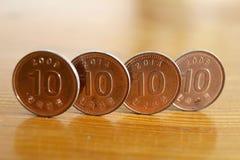 Pièces de monnaie de la Corée du Sud Photographie stock libre de droits