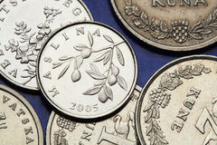 Pièces de monnaie de la Croatie Photos libres de droits