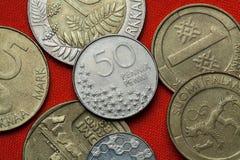 Pièces de monnaie de la Finlande images libres de droits