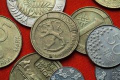 Pièces de monnaie de la Finlande Photo libre de droits