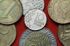 Pièces de monnaie de la Finlande Photographie stock libre de droits