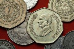 Pièces de monnaie de la Jordanie Bin Talal du Roi Hussein images stock