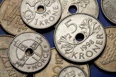 Pièces de monnaie de la Norvège Image libre de droits