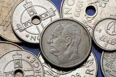 Pièces de monnaie de la Norvège Images libres de droits