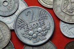 Pièces de monnaie de la Pologne communiste Photos libres de droits