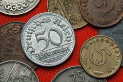 Pièces de monnaie de la République de Weimar Image libre de droits