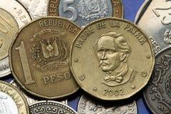 Pièces de monnaie de la République Dominicaine  Photographie stock libre de droits