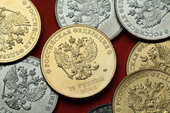 Pièces de monnaie de la Russie Aigle à tête double russe Image stock