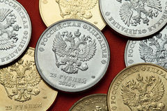 Pièces de monnaie de la Russie Aigle à tête double russe photographie stock libre de droits