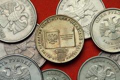 Pièces de monnaie de la Russie Constitution russe Images stock
