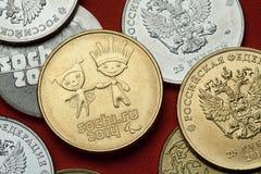 Pièces de monnaie de la Russie Sotchi 2014 Jeux Olympiques d'hiver Photo libre de droits