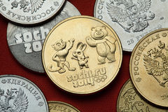 Pièces de monnaie de la Russie Sotchi 2014 Jeux Olympiques d'hiver Image stock