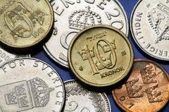 Pièces de monnaie de la Suède Images stock