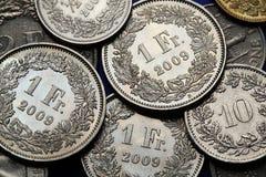 Pièces de monnaie de la Suisse Image stock