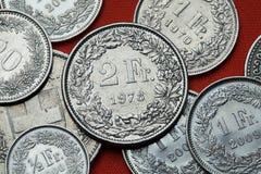 Pièces de monnaie de la Suisse Photographie stock libre de droits