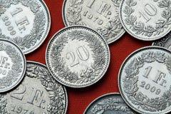 Pièces de monnaie de la Suisse Photographie stock
