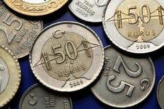 Pièces de monnaie de la Turquie Photo libre de droits