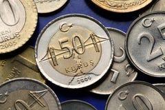 Pièces de monnaie de la Turquie Images stock
