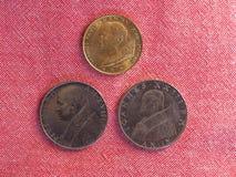 Pièces de monnaie de Lire de Vatican de l'État de la Cité du Vatican Photos stock