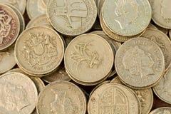 Pièces de monnaie de livre anglaises Image libre de droits