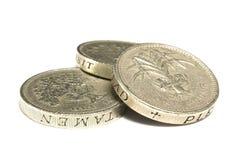 Pièces de monnaie de livre empilées Image libre de droits