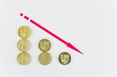 Pièces de monnaie de livre en baisse Photos stock