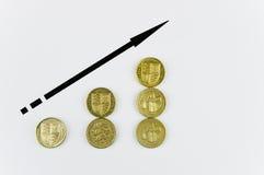 Pièces de monnaie de livre en hausse Photos libres de droits
