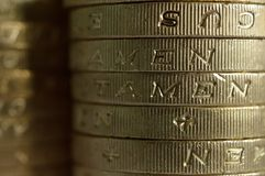 Pièces de monnaie de livre macro Photo libre de droits
