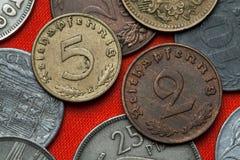Pièces de monnaie de Nazi Germany Images libres de droits