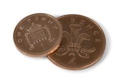 Pièces de monnaie de penny Image stock