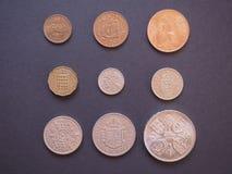 Pièces de monnaie de Predecimal GBP Image stock
