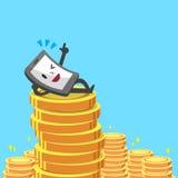 Pièces de monnaie de smartphone et d'argent de bande dessinée Images libres de droits