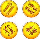 Pièces de monnaie de vecteur avec les paires animales illustration libre de droits
