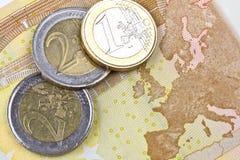 Pièces de monnaie de zone euro Photos stock