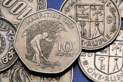 Pièces de monnaie des Îles Maurice Photo stock
