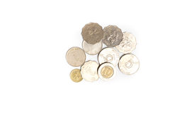Pièces de monnaie des dollars de Hong Kong d'isolement Images libres de droits