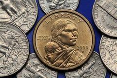 Pièces de monnaie des Etats-Unis Dollar de Sacagawea Photographie stock libre de droits