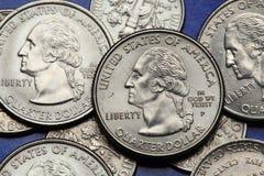 Pièces de monnaie des Etats-Unis George Washington Image libre de droits