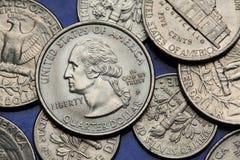 Pièces de monnaie des Etats-Unis George Washington Images libres de droits