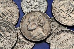 Pièces de monnaie des Etats-Unis Nickel des USA, Thomas Jefferson Images libres de droits