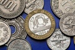 Pièces de monnaie des Frances photos libres de droits