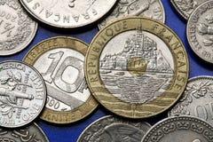 Pièces de monnaie des Frances Images stock