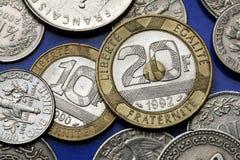Pièces de monnaie des Frances Photographie stock libre de droits
