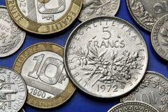 Pièces de monnaie des Frances Photo stock