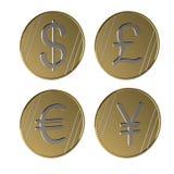 Pièces de monnaie de différents pays Principale devise du monde Symboles monétaire Illustration illustration libre de droits